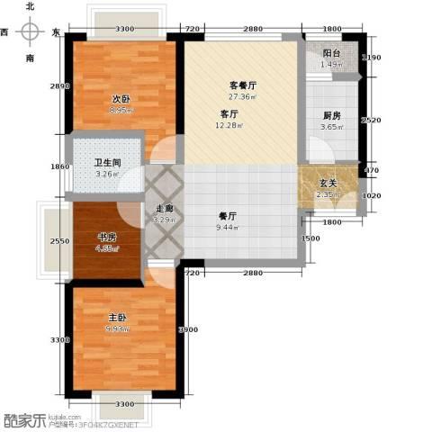 嘉逸岭湾3室1厅1卫1厨86.00㎡户型图