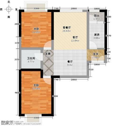 嘉逸岭湾2室1厅1卫1厨86.00㎡户型图