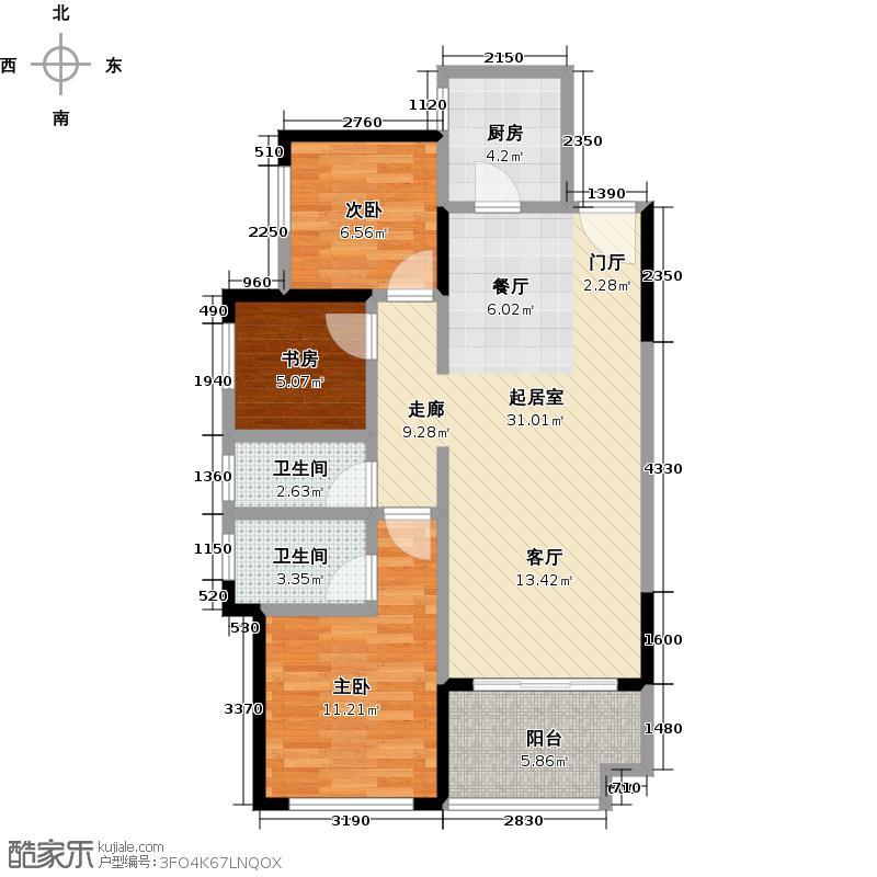 保利爱琴海80.00㎡A户型80平方米户型3室2厅2卫