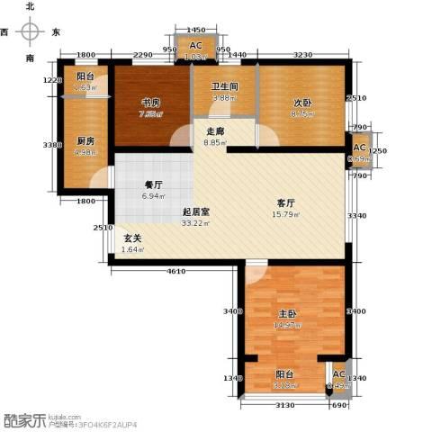 呼和浩特永泰城3室0厅1卫1厨111.00㎡户型图