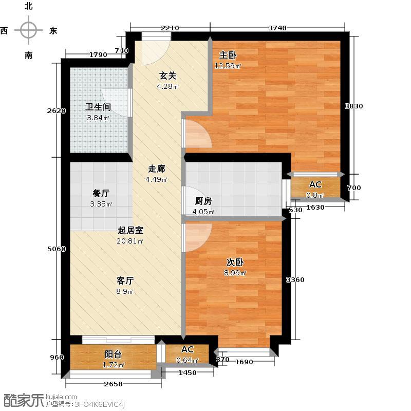 呼和浩特永泰城A3户型2室2厅1卫
