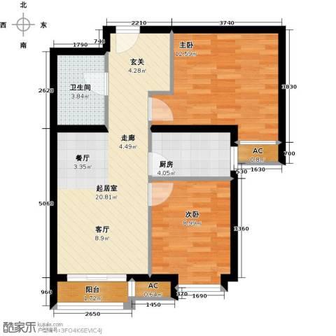 呼和浩特永泰城2室0厅1卫1厨77.00㎡户型图