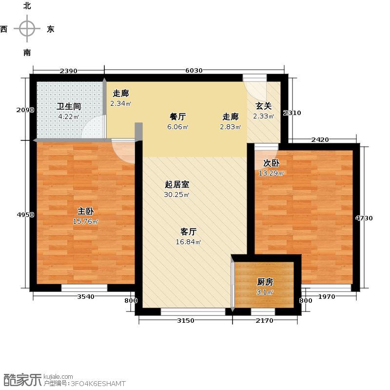 鼎盛国际85.00㎡D3户型2室2厅1卫