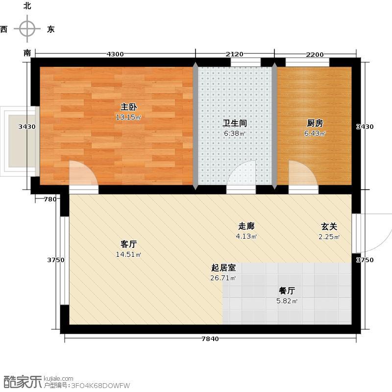 融域13459.00㎡H1 H2 H7户型1室2厅1卫