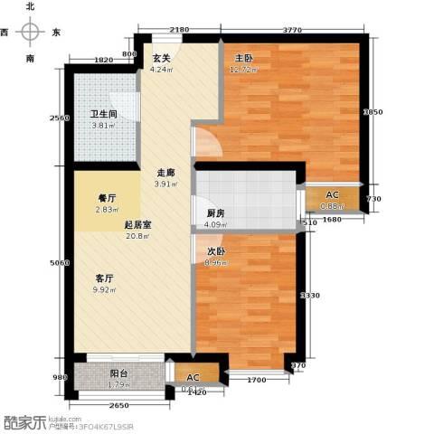 呼和浩特永泰城2室0厅1卫1厨73.00㎡户型图