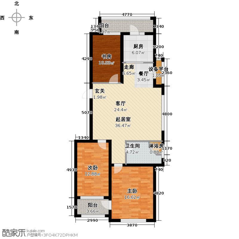 盛德山水绿城111.00㎡E户型3室2厅1卫