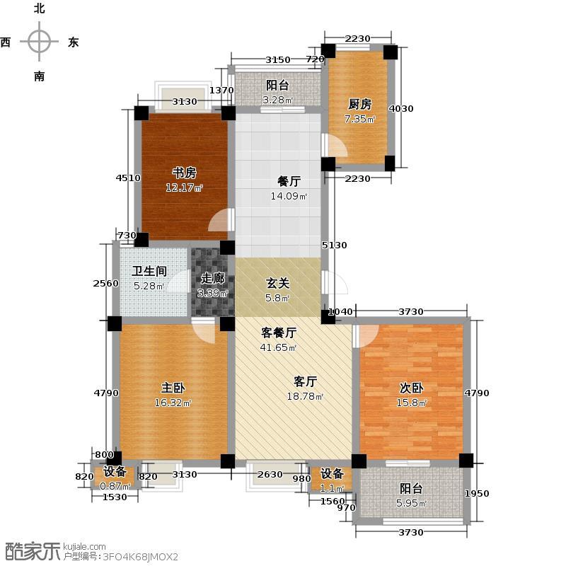 牡丹祥龙湾126.00㎡二期 E户型3室2厅1卫