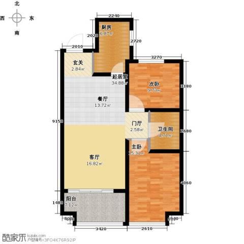 万行中心2室0厅1卫1厨89.14㎡户型图