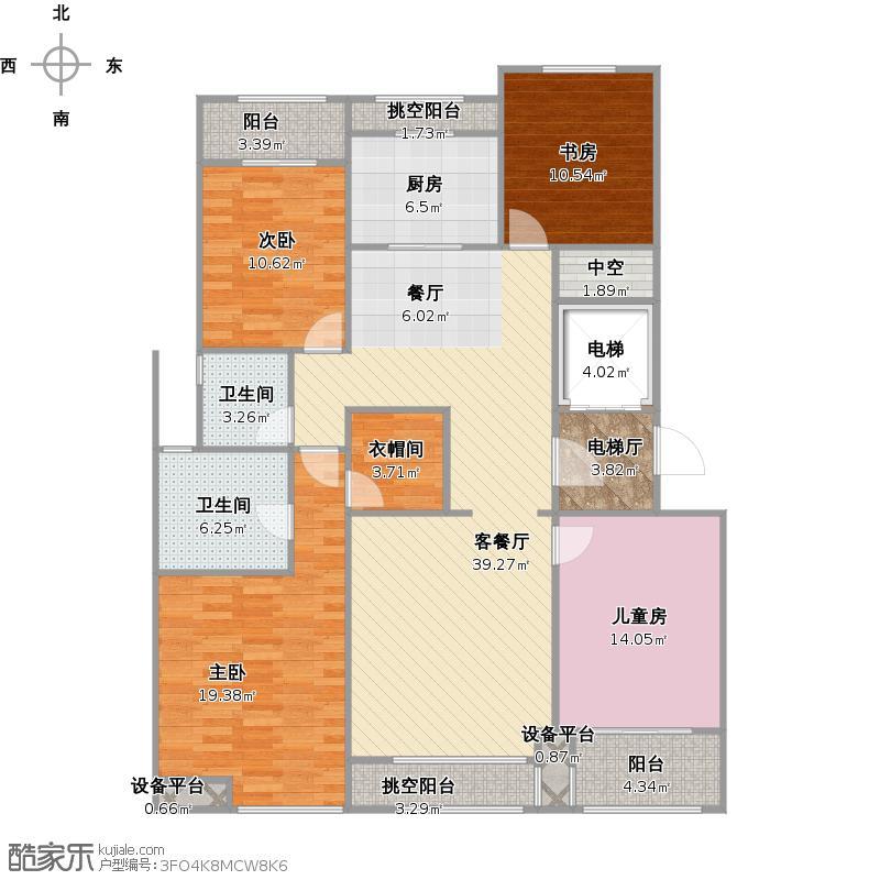 富力西溪悦居堂悦偶数层139平+改后户型