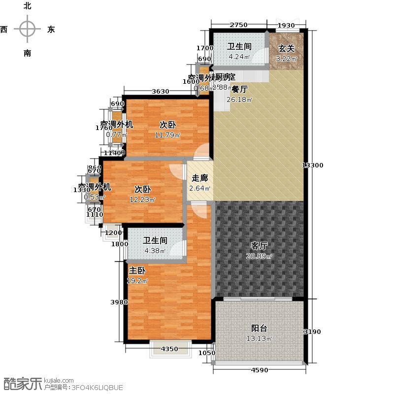 富地蓝泊湾139.00㎡2#A1户型3室2厅2卫