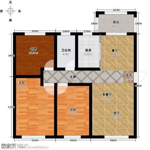 隆都翡翠湾3室1厅1卫1厨121.00㎡户型图