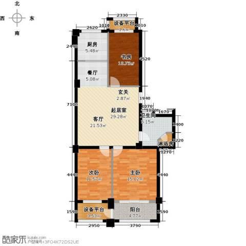 盛德山水绿城3室0厅1卫1厨101.00㎡户型图