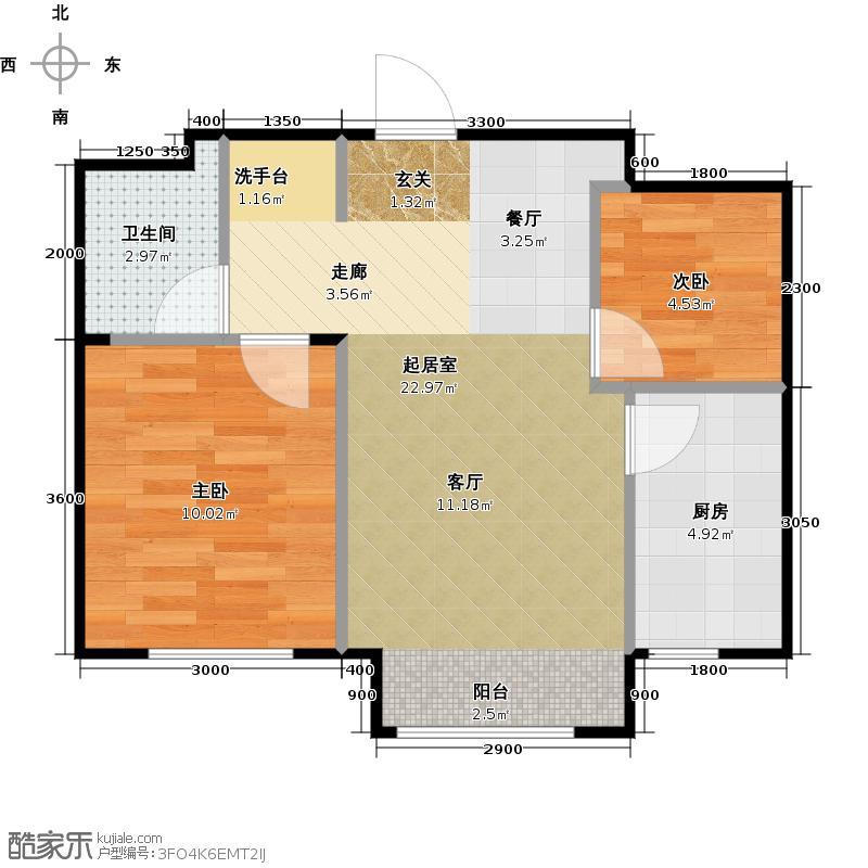 万成御园65.00㎡两室一厅一卫65平米户型图户型2室1厅1卫