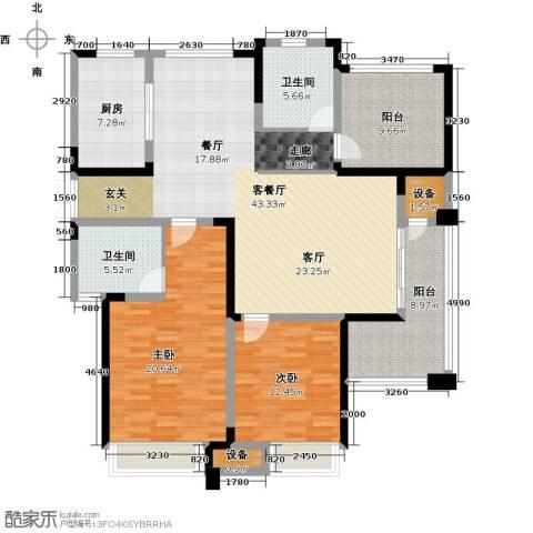 绿洲天逸城2室1厅2卫1厨134.00㎡户型图