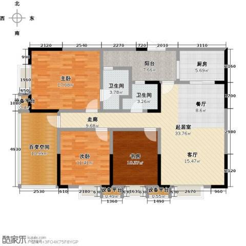 东湖尚�3室0厅2卫1厨120.00㎡户型图