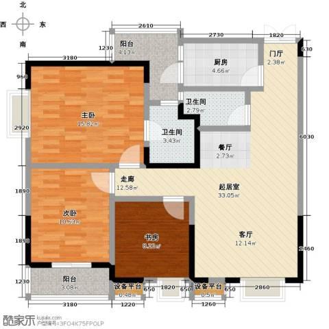 东湖尚�3室0厅2卫1厨96.00㎡户型图