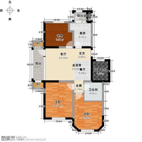 听雨观澜电梯洋房3室0厅1卫1厨123.00㎡户型图