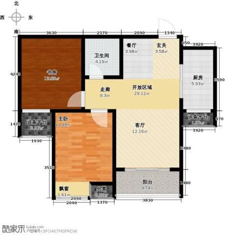 水晶东座2室0厅1卫1厨87.00㎡户型图