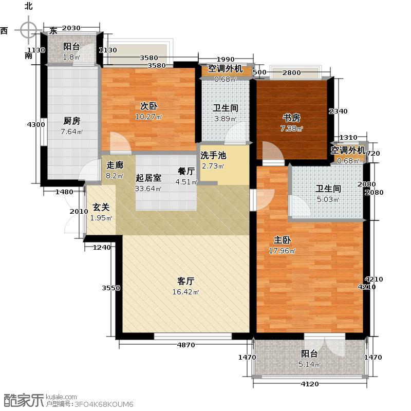 路劲主场106.00㎡6号楼户型3室2厅2卫户型3室2厅2卫