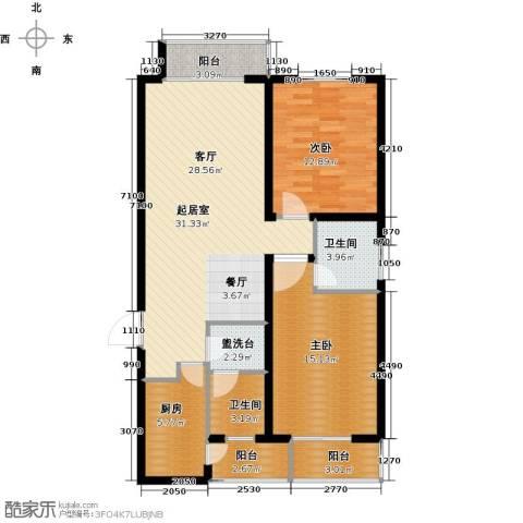 天水丽城二期2室0厅2卫1厨123.00㎡户型图