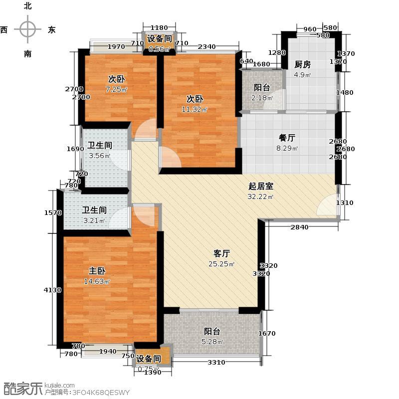 海伦国际E3户型123.0㎡三室两厅两卫户型