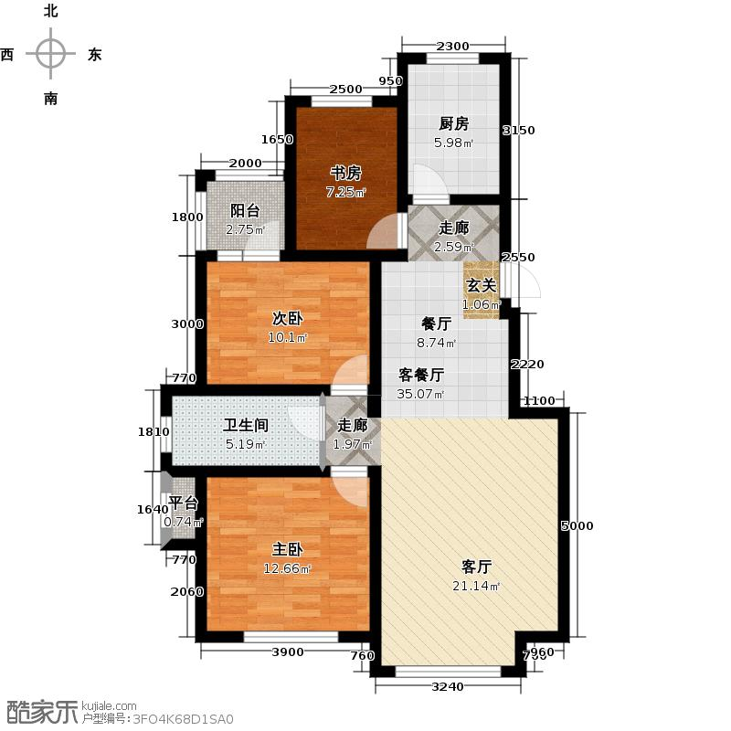 隆都翡翠湾户型3室1厅1卫1厨