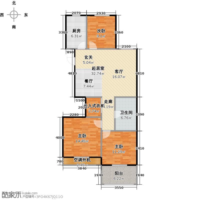 外海中央花园96.14㎡E16a型三室两厅一卫96.14平户型