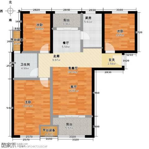鑫苑景城3室1厅1卫1厨107.00㎡户型图