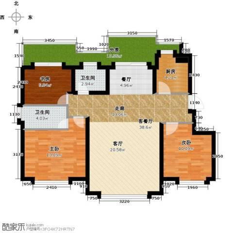 国盛南域枫景3室1厅2卫1厨104.00㎡户型图