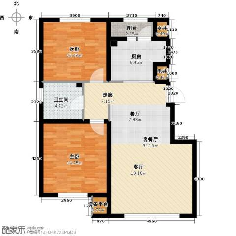 绿地国际花都2室1厅1卫1厨87.00㎡户型图