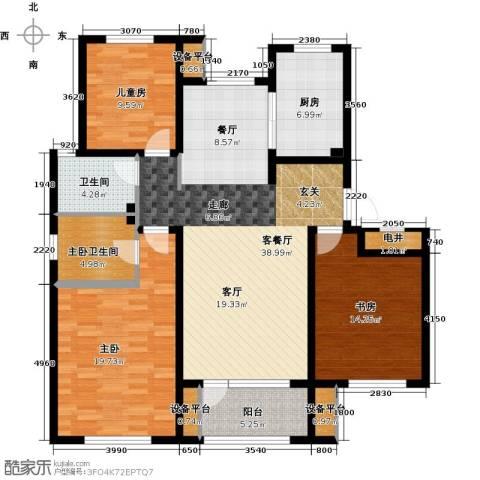 绿地国际花都3室1厅1卫1厨124.00㎡户型图