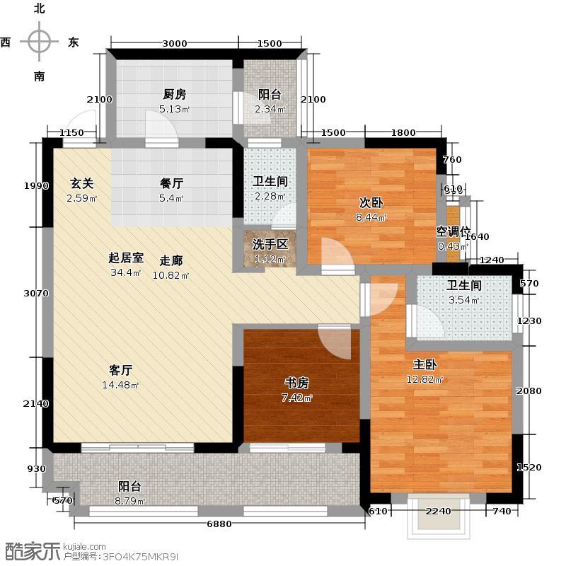黄河畔岛户型3室2卫1厨