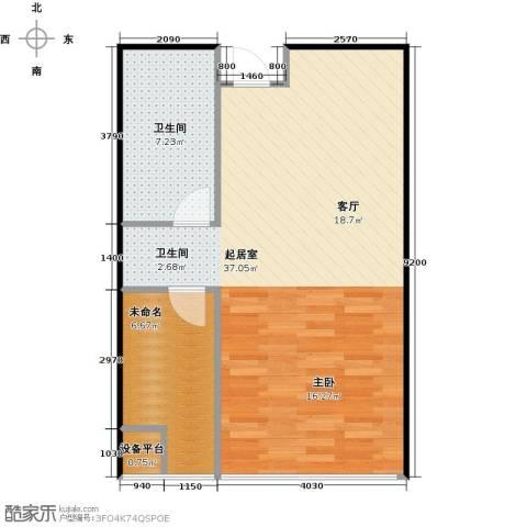 炫彩SOHO1卫0厨61.00㎡户型图