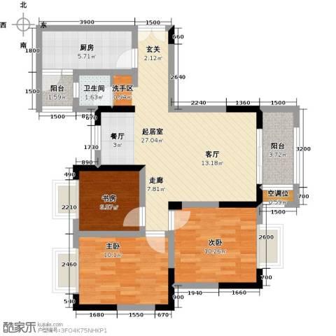 黄河畔岛3室0厅1卫1厨99.00㎡户型图