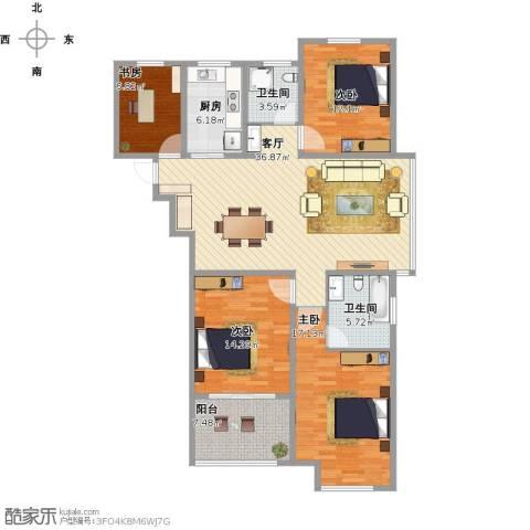 天淳江南4室1厅2卫1厨176.00㎡户型图