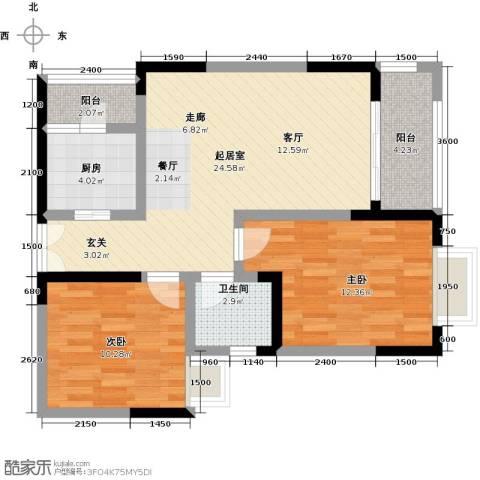 黄河畔岛2室0厅1卫1厨89.00㎡户型图