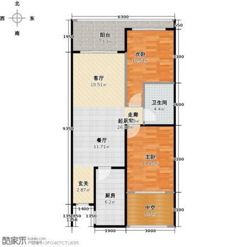山海湾温泉家园2室0厅1卫1厨71.70㎡户型图
