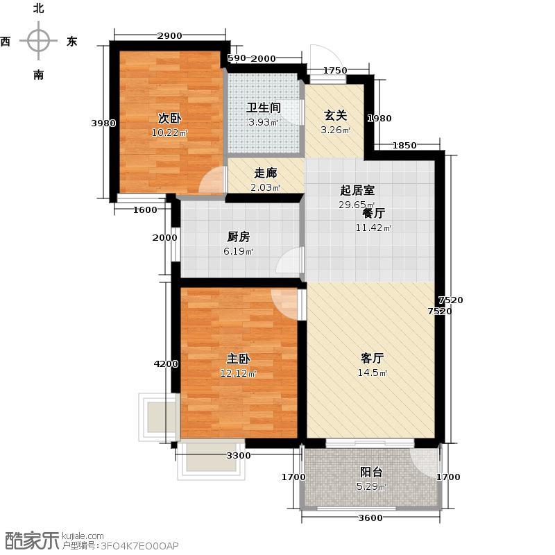 金屋秦皇半岛户型2室1卫1厨