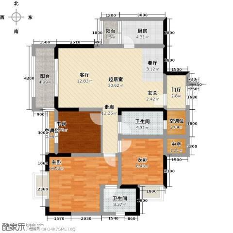黄河畔岛3室0厅2卫1厨128.00㎡户型图