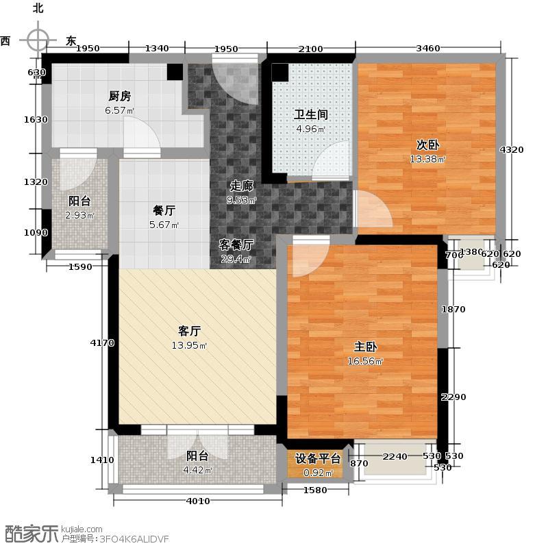 碧桂园滨海城91.00㎡J410-B户型2室2厅1卫