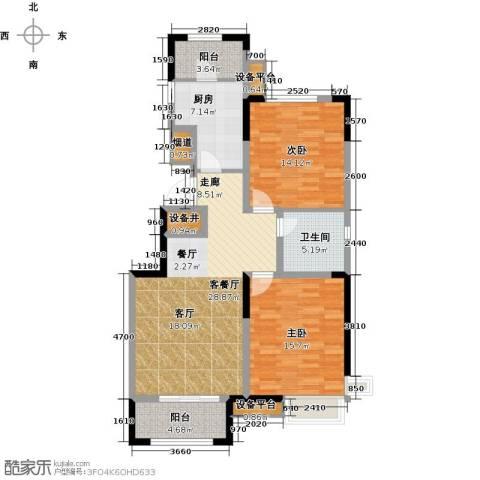 泰达风景2室1厅1卫1厨95.00㎡户型图