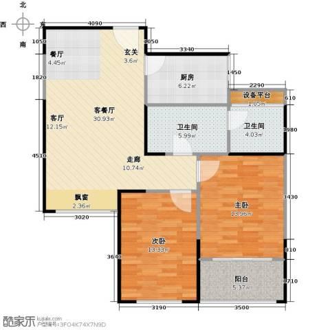 正元怡居2室1厅2卫1厨86.00㎡户型图