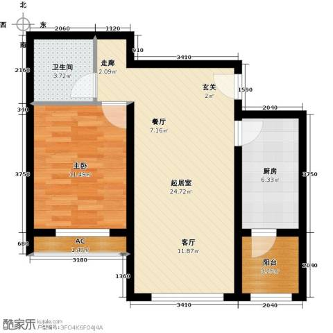 东方晨曲花苑1室0厅1卫1厨59.00㎡户型图