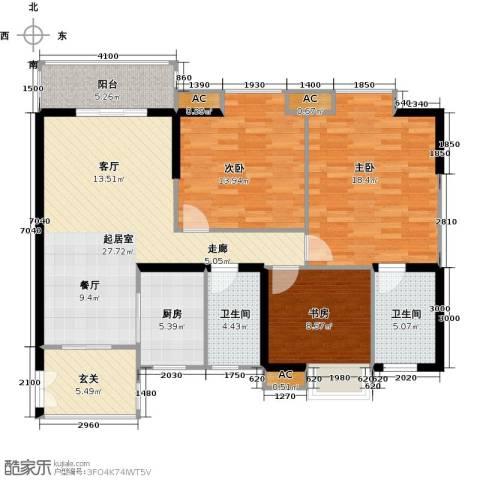 翰城国际3室0厅2卫1厨121.00㎡户型图