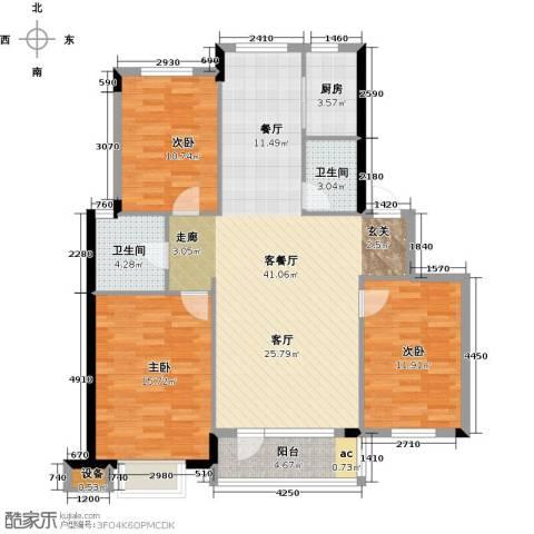 丽湖名居3室1厅2卫1厨127.00㎡户型图