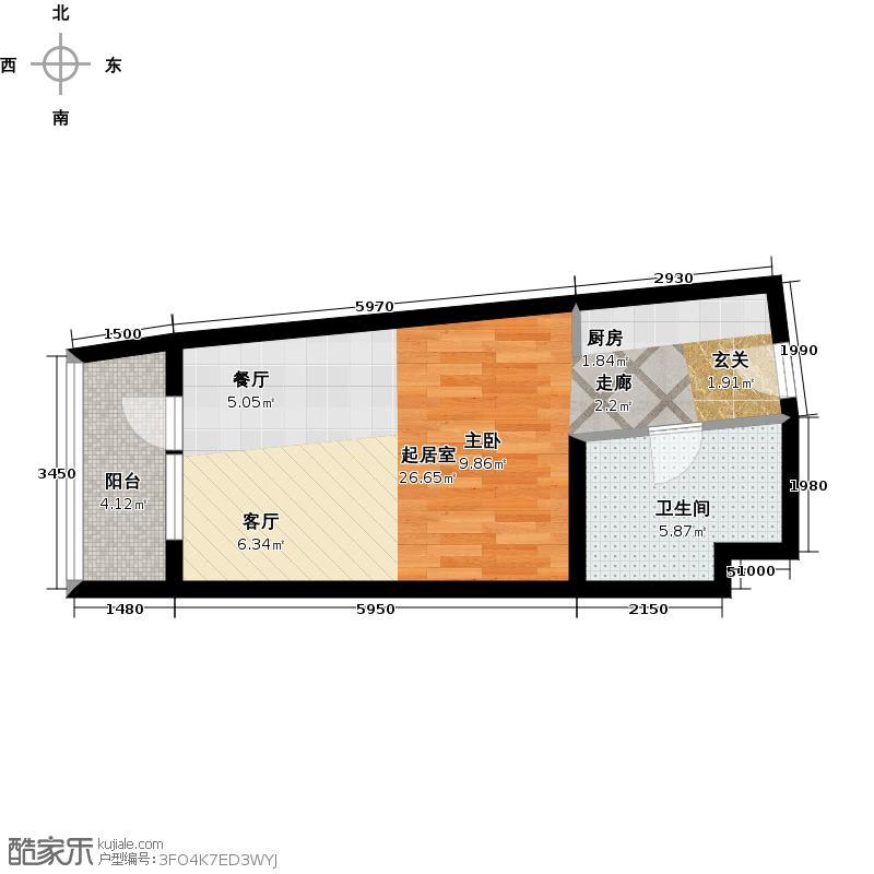 海天翼A1户型约55.18-55.19平米一室一厅一厨一卫 55.18平米户型1室1厅1卫
