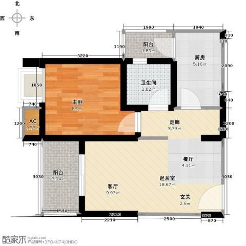 翰城国际1室0厅1卫1厨48.00㎡户型图