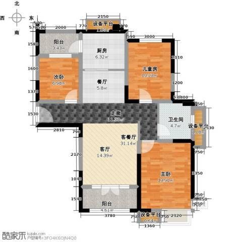 碧桂园滨海城3室1厅1卫1厨116.00㎡户型图
