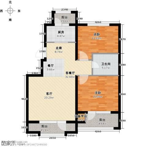 国盛南域枫景2室1厅1卫1厨91.00㎡户型图