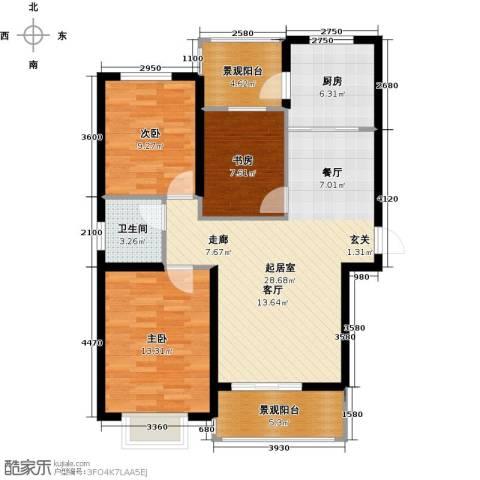 东方太阳城3室0厅1卫1厨88.38㎡户型图